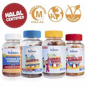 Salaam Nutritionals Halal Mega Family 5 Pack– Calcium, Children's Multivitamin, Children's Omega 3 + DHA. Adult Multivitamins, Children's Omega 3 + DHA, Adult Vitamin D – Kosher, Gluten & Nut Free