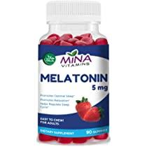 Mina Vitamins Healthy Sleep (Melatonin) Halal Gummy Vitamin– Natural Strawberry Flavor - Vegetarian, Non-GMO, Gluten Free (90 Count)
