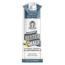 Califia Farms Vanilla Better Half Coffee Creamer, 32 Oz | Coconut Cream and Almondmilk | Half & Half | Dairy Free | Plant Based | Nut Milk | Vegan | Non-GMO
