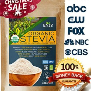 Easy Use Organic Stevia Powder 200g (7.05oz / 1600 Servings) All Natural Alternative Sweetener 12 x Sweeter than Processed Sugar USDA Certified No Artificial additives & fillers
