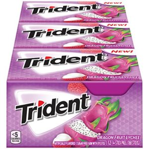 Trident Dragon Fruit Lychee Sugar Free Gum - with Xylitol - 12 Packs (168 Pieces Total)