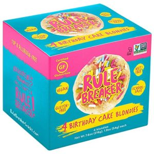 Rule Breaker Snacks, Birthday Cake Blondie, Vegan, Gluten Free, Nut Free, Allergy Friendly, Kosher, Individually Wrapped 1.9oz Cookies (4 Blondies)