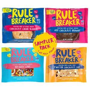 Rule Breaker Snacks, Flavor-Full Sampler with Birthday Cake, P'Nutter, Blondie & Brownie, Vegan, Gluten Free, Nut Free, Allergy Friendly, Kosher, Individually Wrapped 1.9oz Cookies (4 Blondies)