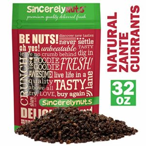 Sincerely Nuts Currants (2 LB) - Zante Currants - Dried Grapes - Black Corinth-Sweet Flavor Addition to Many Meals - Vegan & Kosher