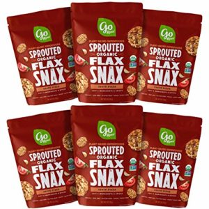 Go Raw Superfood Flax Snax, Gluten Free Crackers, Zesty Pizza | Keto | Organic | Vegan | Paleo | Natural (6 Bags)