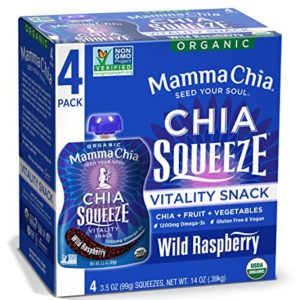 Mamma Chia Squeeze (Wild Raspberry) Organic Vitality Pouches, 24 Count, Healthy Snacks, Vegan Fruit and Veggie Puree, Non GMO, Gluten Free, No Added Sugar, 1200mg Omega-3, 3.5oz (Pack of 24)