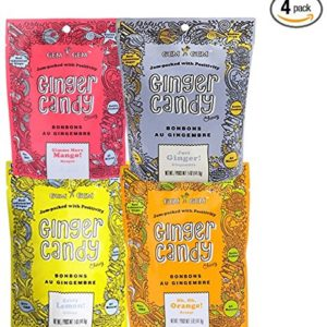 Assorted Ginger Chews (4-Pack)- (4) Gem Gem 5oz Bags - ORIGINAL, MANGO, LEMON & ORANGE   All-Natural, Non-GMO, Gluten Free, Vegan, REAL Indonesian Ginger - The perfect chewy sweet with a kick!