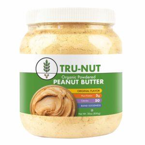 Tru-Nut Organic Powdered Peanut Butter (71 Servings, 30 oz Jar) - Good Source of Plant Protein - Gluten Free, Vegan, Non-GMO - Original Flavor