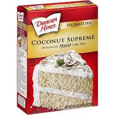 Duncan Hines Deliciously Moist Coconut Supreme Cake Mix, 16.5 Oz. Box (2 Pack)