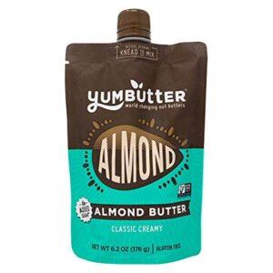 Keto Almond Butter by Yumbutter, No Sugar Added, Paleo, Gluten Free, Vegan, Non GMO, 6.2oz Pouch