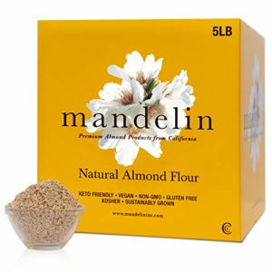 Mandelin Fresh Natural Unblanched Almond Flour - 100% Almond Flour / Meal, With Skin, Super Fine Mill, Non-GMO, Gluten Free, Vegan, Keto, Plant Based Diet Friendly (5 lb)