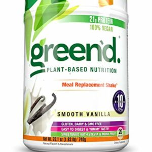 Complete Nutrition Green'd Meal Replacement Shake, Smooth Vanilla, 100% Vegan, Probiotic, Pea Protein Powder, 20 Servings, 26.1oz Tub
