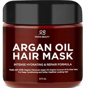 Radha Beauty Argan Oil Hair Mask 8 oz. - Intense Hydrating Repair Formula with 100% Organic Argan Oil, Coconut Oil, and Aloe Vera