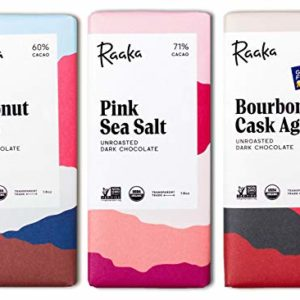 Raaka Best Sellers Trio (1.8oz Bars - 3 Pack), Organic, Kosher Craft Artisan Chocolate, Vegan, Gluten and Soy Free, Gourmet, Bean-to-Bar Dark Chocolate - Great Gift for Chocolate Lovers