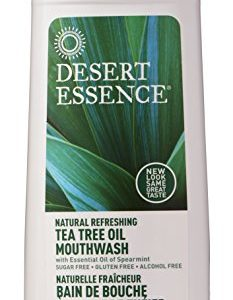 Desert Essence Tea Tree Oil Mouthwash - 16 Fl Oz - Pack of 2 - Natural Refreshing - Spearmint Flavor - Helps Reduce Plaque Buildup - Refreshes Mouth & Gums - Vitamin C - Oral Care - No Parabens