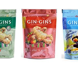 Gin Gins Gluten Free Vegan Ginger Candy 3 Flavor Variety Bundle, 1 each: Original, Spicy Apple, Super Strength (3 Ounces)