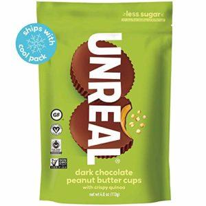 UNREAL Dark Chocolate Crispy Quinoa Peanut Butter Cups - Vegan, Gluten Free, Less Sugar (6 Bags)