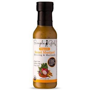 Simple Girl Organic Sweet Mustard Salad Dressing - 12oz - Sugar Free - Certified Organic - Kosher - Gluten Free - Vegan - No Carbs - Fat Free - Compatible with Most Sugar Free Diet Plans