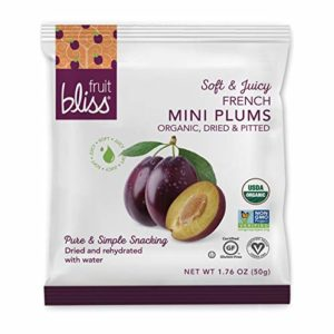 Organic French Plum Dried Fruit Snacks, Soft & Juicy Sun - Dried Plums - Mini Snack Pack, Pitted Plums Organic Fruit Snacks - Non-GMO, Gluten-Free, Vegan Plum Snacks (12 Mini Pack - 1.76 oz. each)