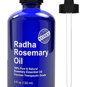 Radha Beauty Rosemary Essential Oil - 100% Pure Therapeutic Grade, Steam Distilled for Aromatherapy, Relaxation, Scalp Treatment, Healthy Hair Growth, Anti-aging, Dry Skin, Acne Skincare, 4 oz.