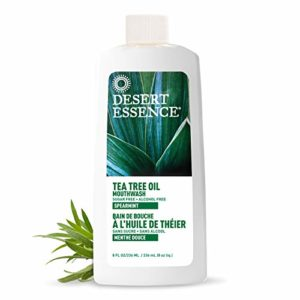 Desert Essence Natural Refreshing Tea Tree Oil Mouthwash - 8 Fl Ounce - Essential Oil of Spearmint - Reduces Plaque Buildup - Complete Oral Care - Refreshing Taste - Vitamin C