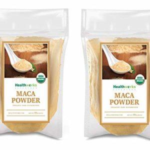 Healthworks Maca Powder Raw (64 Ounces / 4 Pound) (2 x 2 Pound Bags)   Certified Organic Flour Use   Keto, Vegan & Non-GMO   Premium Peruvian Origin   Breakfast, Smoothies, Baking & Coffee