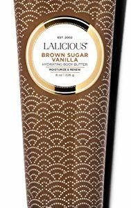 LALICIOUS Brown Sugar Vanilla Body Butter - Hydrating Body Moisturizer with Shea Butter, Cucumber Extract & Apricot Oil, No Parabens (8 Ounces)