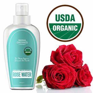 Radha Beauty Rose Water Toner - USDA Organic 100% Pure Moroccan Rosewater