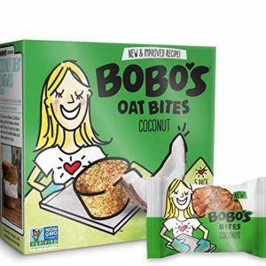 Bobo's Oat Bites (Coconut, 30 Pack Box of 1.3 oz Bites) Gluten Free Whole Grain Rolled Oat Snack- Great Tasting Vegan On-The-Go Snack, Made in the USA