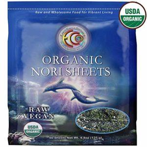 "Earth Circle Organics   Raw Certified Organic Nori Seaweed   Grade ""A"" Rating   Unheated & Not Roasted   Vegan   Paleo & Keto Friendly   Premium Quality Nori 50 Sheets"