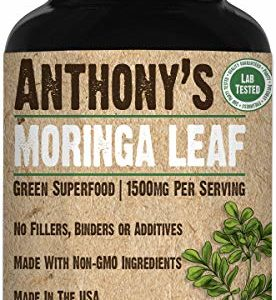 Anthony's Moringa Leaf Supplement, 180 Capsules, 1500mg Per Serving, Green Superfood, Pure Leaf Powder, Vegan Friendly, Made in USA