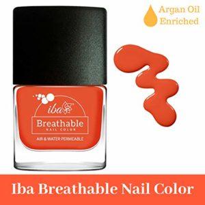 IBA Nail Color Polish Breathable Air Water Permeable Halal Wuzu Friendly (B12 Orange Flames)
