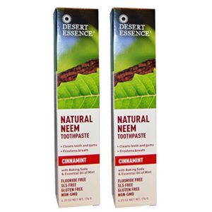 Desert Essence Natural Neem Tootpaste Cinnamint 6.25oz (2 pack)
