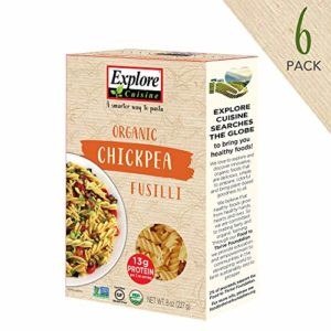 Explore Cuisine Organic Chickpea Fusilli (6 Pack) - 8 oz - High in Plant Based Protein, Gluten Free Pasta - USDA Certified Organic, Vegan, Kosher, Non GMO - 24 Total Servings