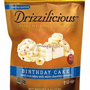 Drizzilicious Birthday Cake 6 Pack | Mini Snack Chocolate Rice Cakes | Vegan Air Popped Chia, Quinoa, Flax Smore Snacks