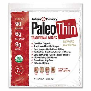 Paleo Thin Wrap USDA Organic (49 Individual Wraps) (Gluten-Free & Low Net Carbs) VeganⓋ