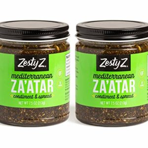 Savory Za'atar and Olive Oil Condiment (Zaatar/Zatar/Zahtar), Mediterranean Spice Blend, 8.1 ounces, Pack of 2, Gluten Free, Vegan, Keto, Sugar Free, Zesty Z