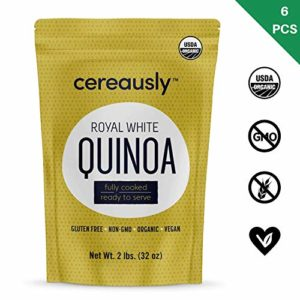 CEREAUSLY Fully Cooked Organic White Quinoa | 12 LBS | Ready to Eat | Royal Bolivian | Non-GMO | Gluten-Free | Vegan (2 LB Pack of 6)