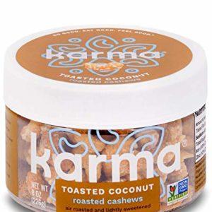 Karma Nuts Roasted Coconut Crunch Cashews | 8 oz Jar | Whole Cashews | Air Roasted, No Oil | Natural, Minimally Processed | Non-GMO, Gluten-Free, Vegan, Kosher | Rich in Antioxidants + Fiber