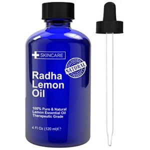 Radha Beauty Lemon Essential Oil 4 Oz - 5x Extra Strength 100% Pure & Natural - Cold Pressed Premium Quality Oil from Italy