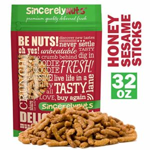 Sincerely Nuts Honey Roasted Sesame Sticks - (2 LB) The Perfect Vegan Treat-Sweet and Crunchy Flavor-Beet and Turmeric Power Snack - Outstanding Flavor - Kosher
