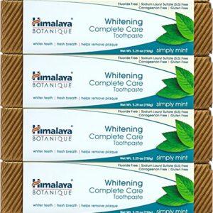 Himalaya Whitening Toothpaste - Simply Mint, Natural, Fluoride-Free, SLS Free, Carrageenan-Free & Gluten-Free, 5.29 oz (150 g), 4 PACK