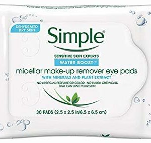Simple Water Boost Micellar Eye Makeup Remover, 30 Pads (Pack of 2)