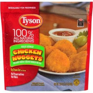 Tyson Fully Cooked Breaded Nugget Shaped Chicken Patties, 1.375 Pound -- 8 per case.
