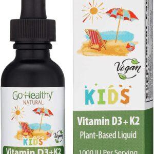Go Healthy Natural Vitamin D3 + K2 Vegan Liquid Drops Kids, Toddler, Children - Black Glass 0.80 FL Oz.