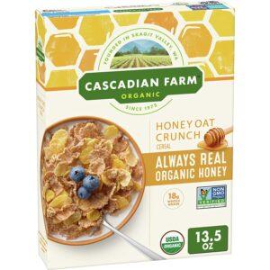 Cascadian Farm Organic Honey Crunch Oat Cereal, 13.5 oz