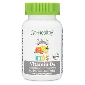 Go Healthy Natural Vitamin D3 Kids Premium Vegan Low Sugar 25mcg (1000 IU) Per Gummy