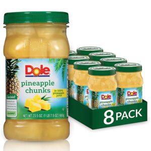 Dole Jarred Pineapple Chunks in 100% Fruit Juice, 23.5 Ounce Jar (Pack of 8)