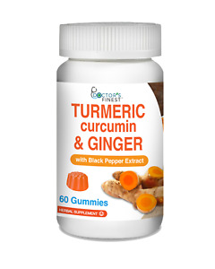 Doctors Finest Turmeric Curcumin with Ginger & Black Pepper Extract Gummies – Vegetarian, GMO-Free & Gluten Free