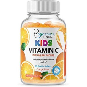 Doctors Finest Vitamin C Gummies for Kids, Vegan, GMO Free & Gluten Free, Great Tasting Orange Flavor Pectin Chew
